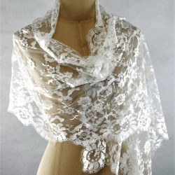 Fabiola - French Leavers Lace Scarf